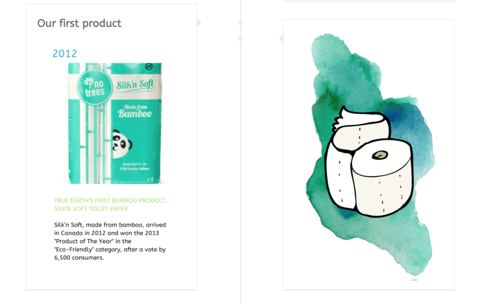Package of Silk'n Soft bamboo toilet paper and a colourful graphic of a toilet paper roll